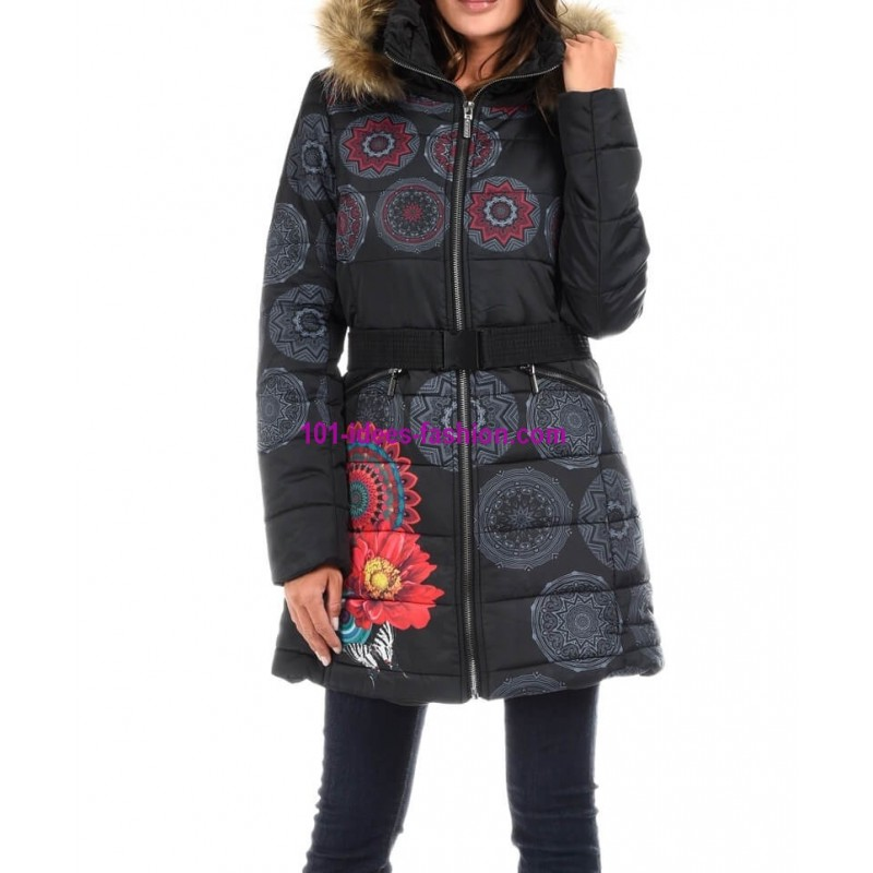 quilted coat winter geometric print brand 101 idees 1812W shop