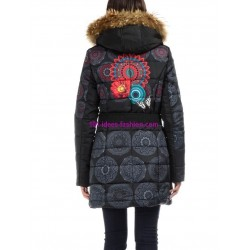 long quilted coat winter geometric print brand 101 idees 1812W