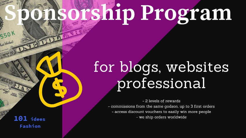 101 idees Sponsorship Program for blogs, websites and professional