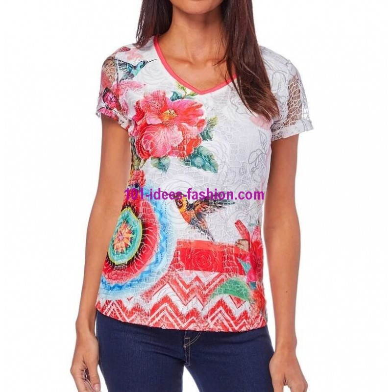 fashion elegant style desigual lace tshirt top print geometric ethnic and floral motifs summer brand 101 idees